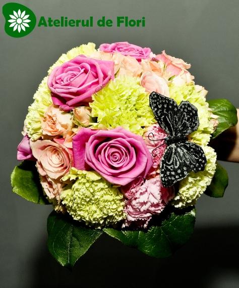 Buchet De Mireasa Din Flori Combinate Roz Verde Crud Atelierul De