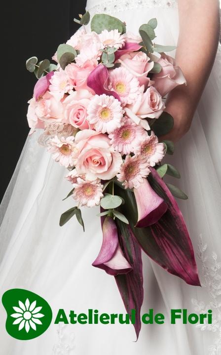 Buchet curgator roz visiniu cu cale