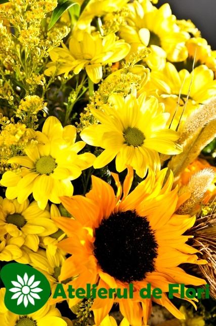 Cos cu flori galbene de vara