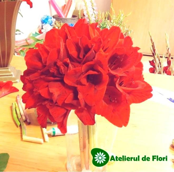 buchet de mireasa gladiole rosii