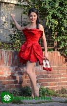 red roses dress with petals