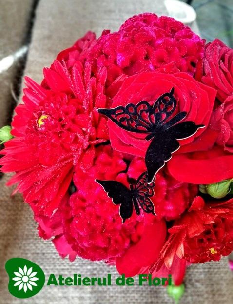Buchet de mireasa rosu cu negru