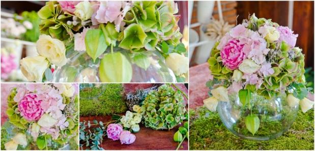 Aranjamente florale pentru nunţi pe boluri de sticlă(2)