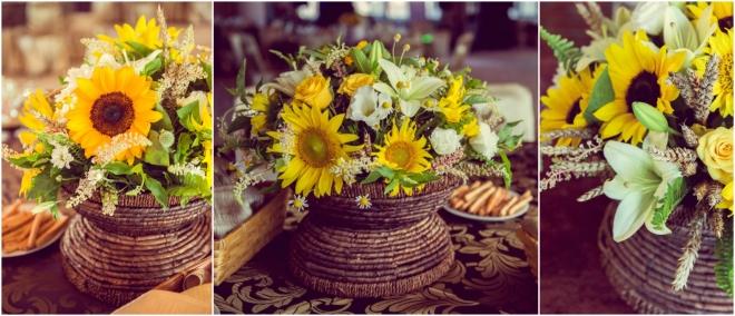 Aranjament floral cu floarea soarelui si grau