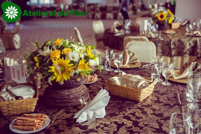 Aranjament cu floarea soarelui nunta